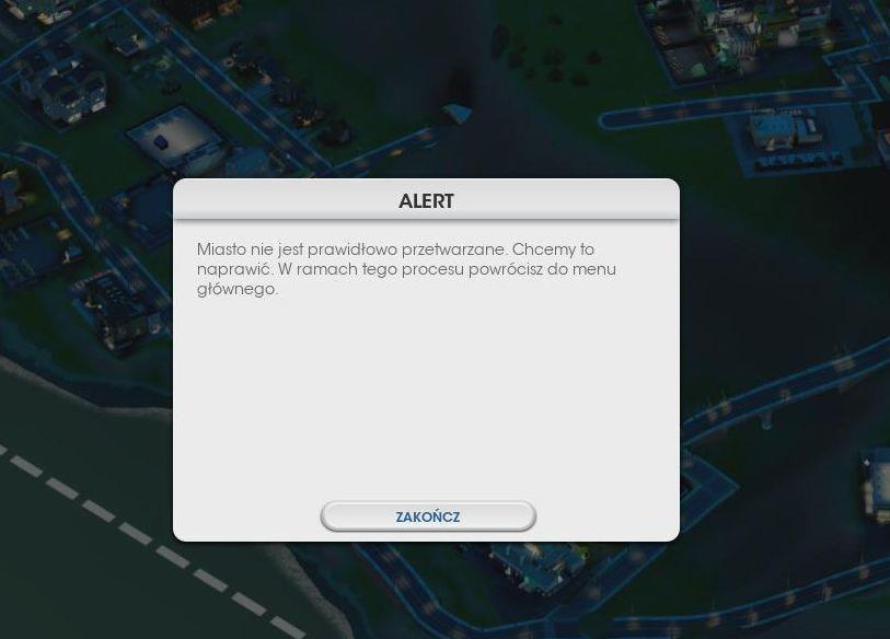 Simcity 5 - błąd przetwarzania miasta