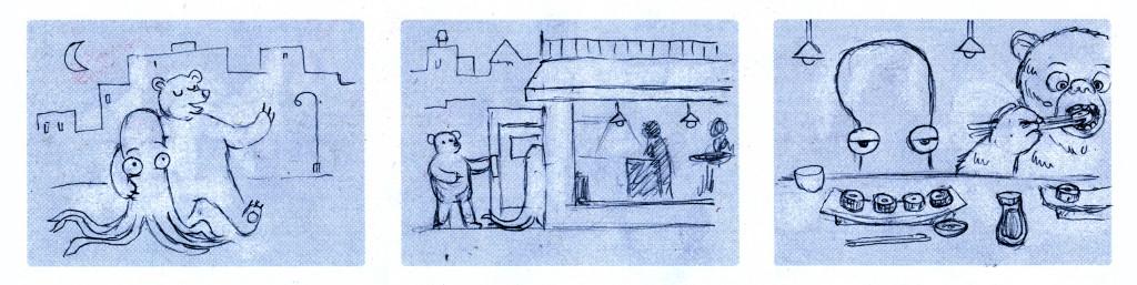 Szkic animacji Doodle na walentynki 2013 - kolejny etap