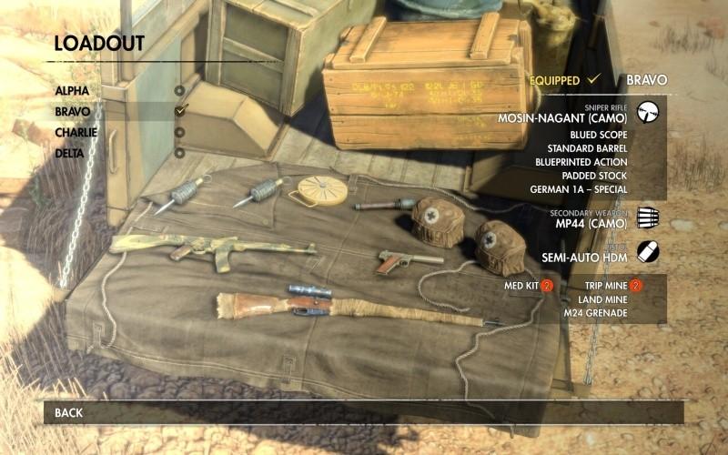 Sniper Elite 3 - wybór sprzętu przed misją